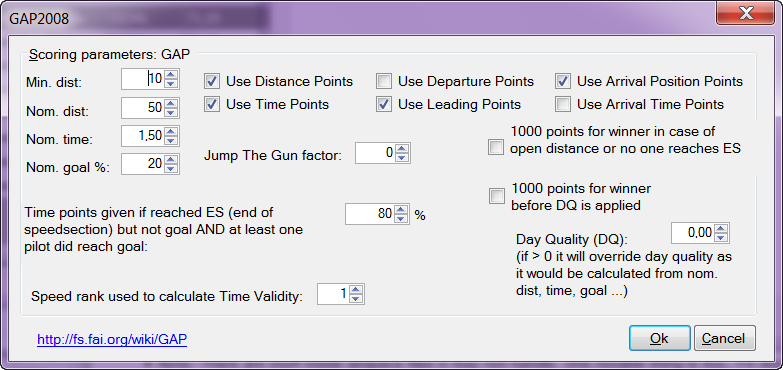 FS GAP Parameters screenshot